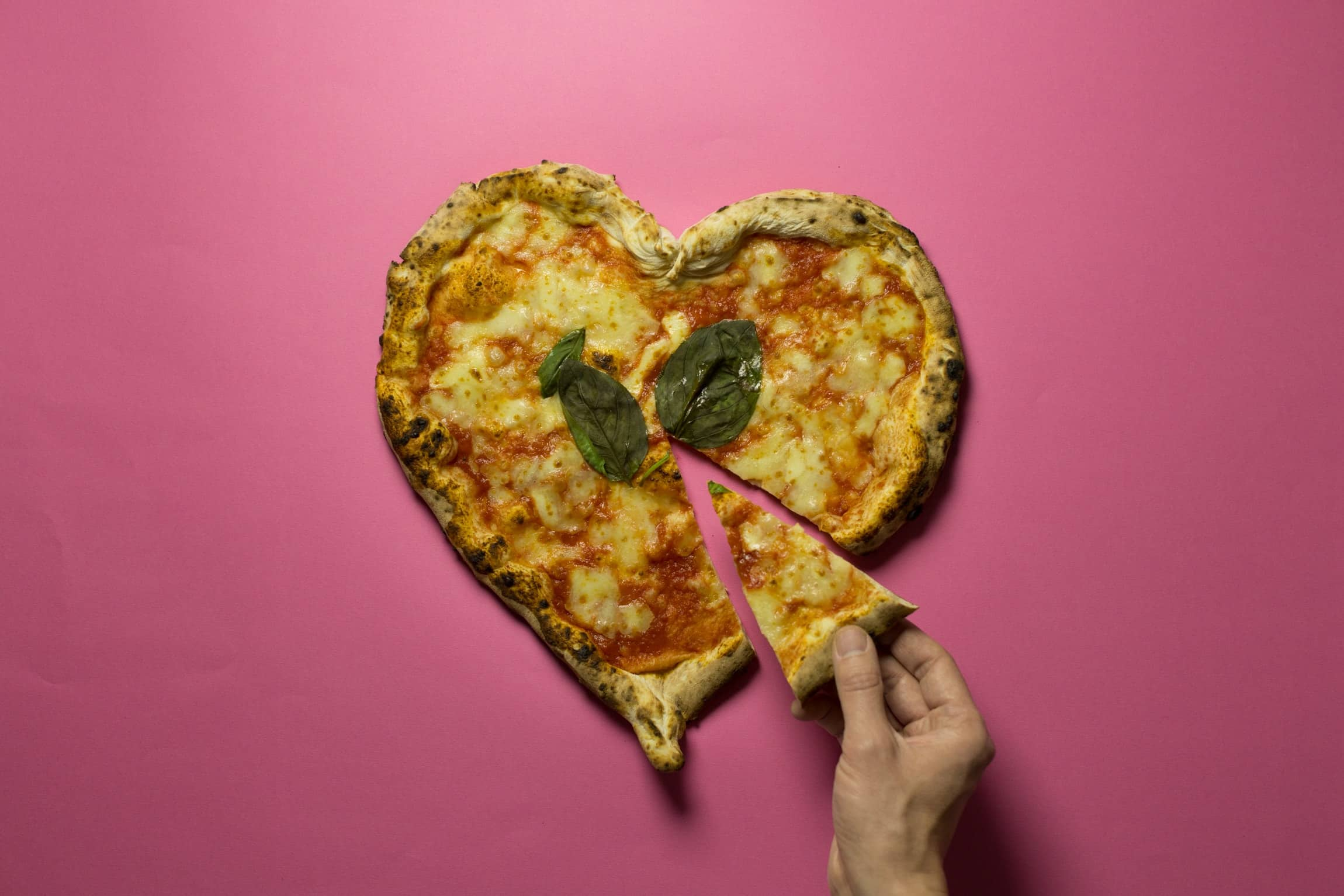 Pizza heart slice out