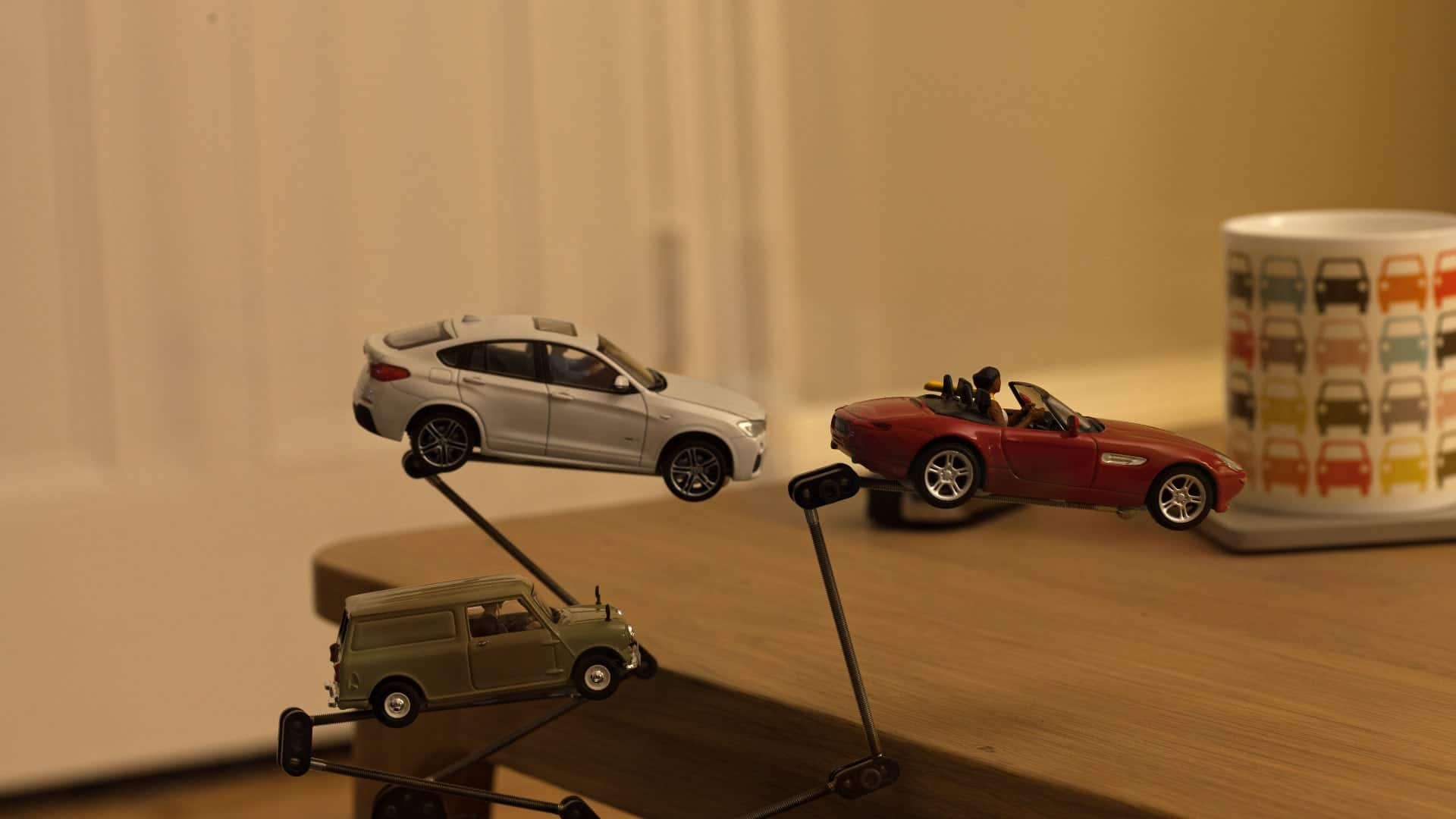 Stop motion model car jump with rigs