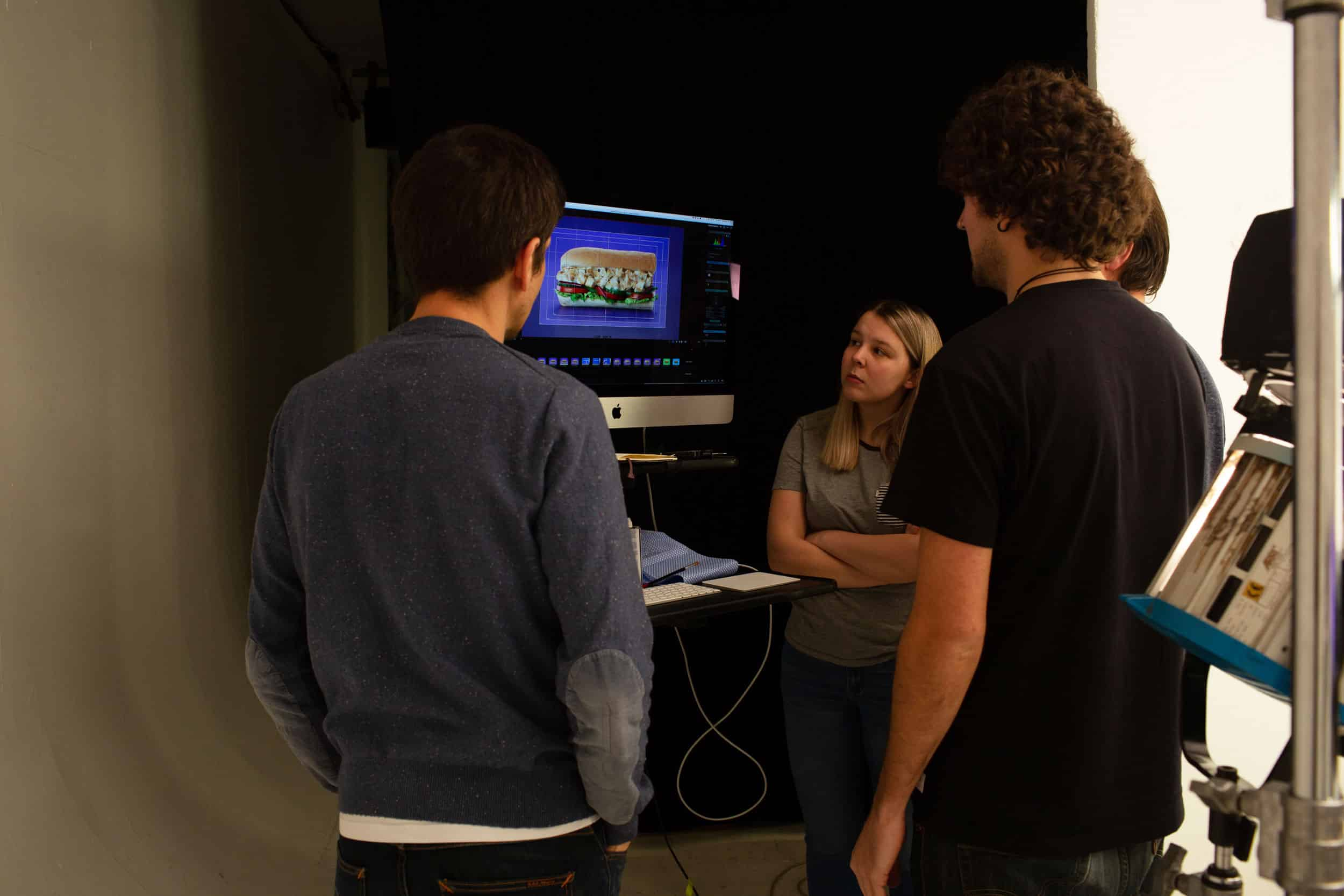 Examining a Subway on the monitor