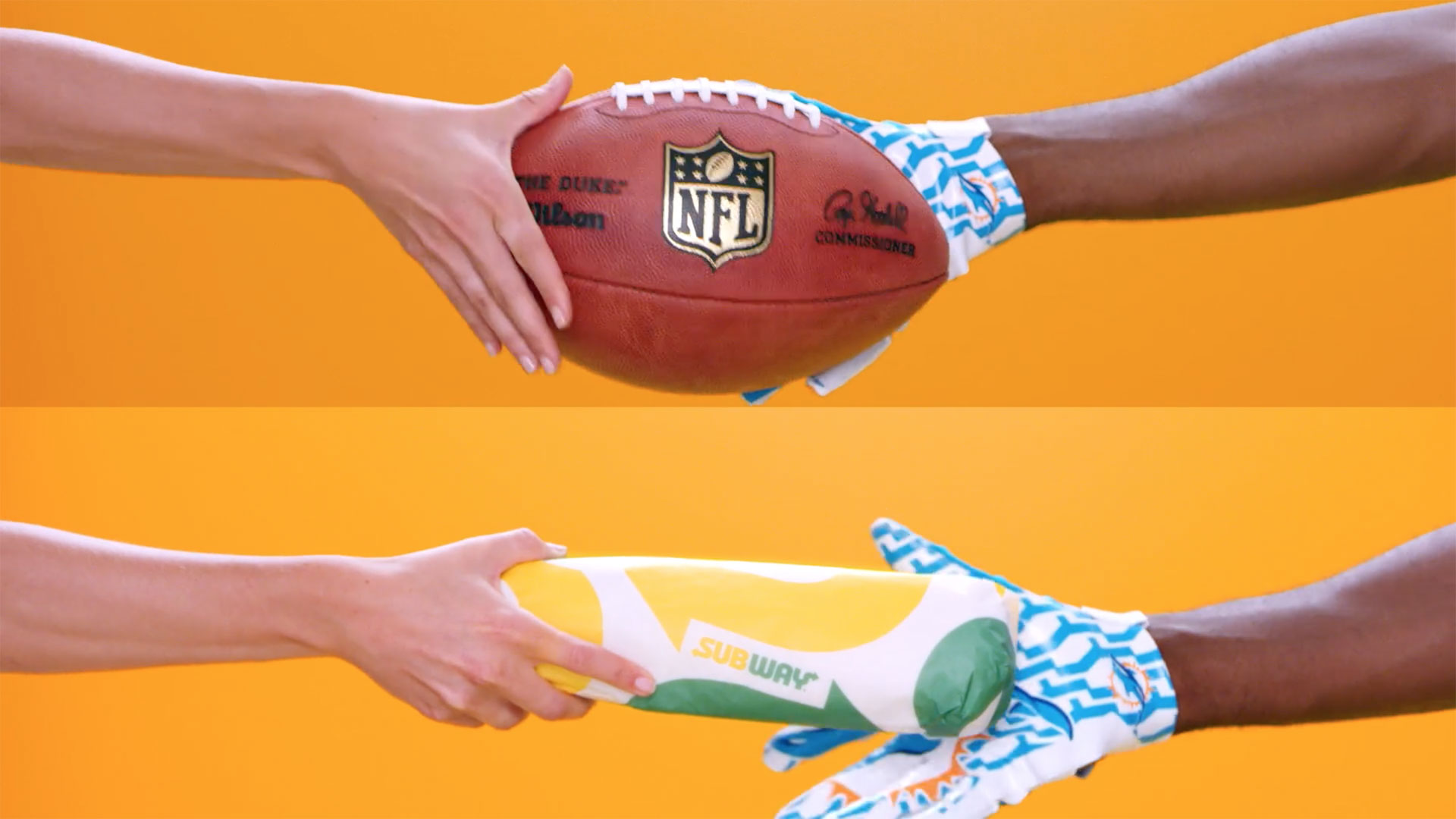 Subway Perfect partners exchanging football and subway