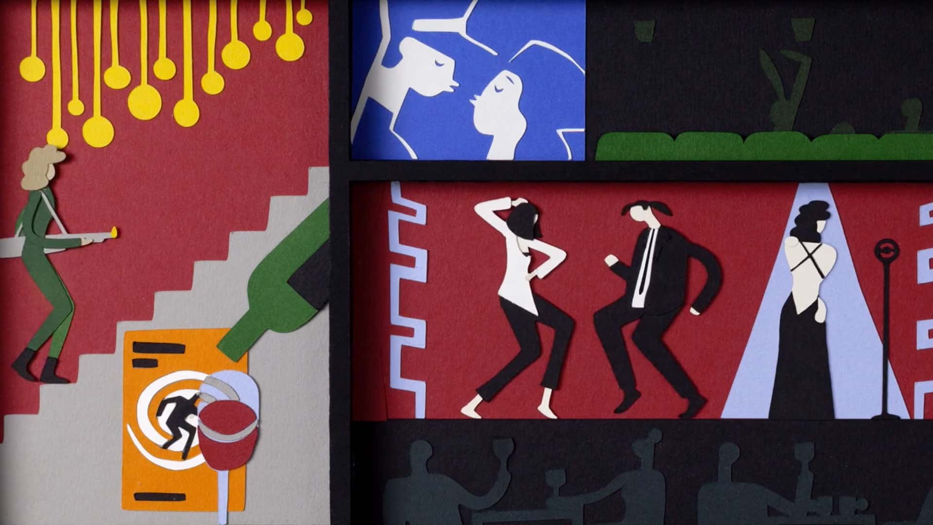 Stop motion paper cut animation for Picturehouse dance scene