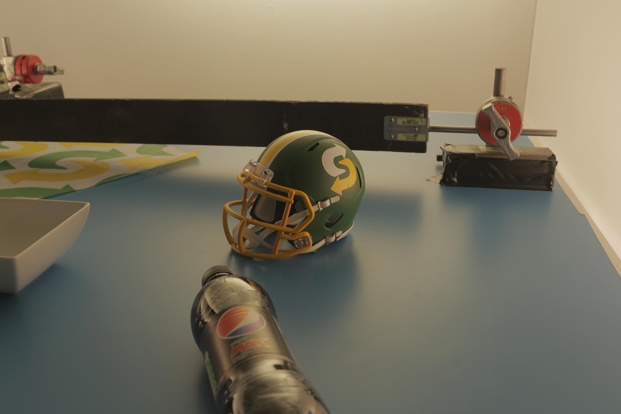 Subway NFL helmet on animation stage