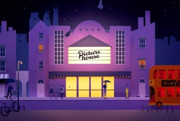 Exterior scene from Picturehouse stop motion ident