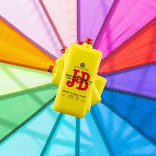 J&B Pocket Bottle on rainbow background